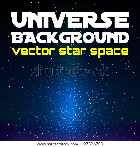 Vector universe. Black space with blue shining universe. - stock vector