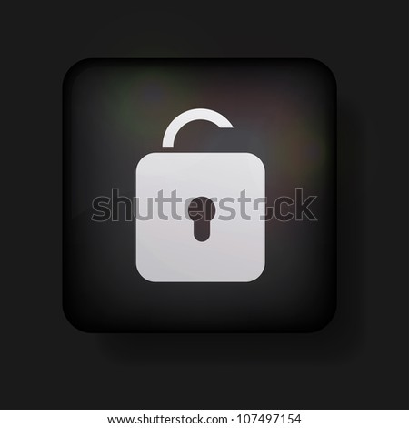 Vector unlock icon on black. Eps 10 - stock vector