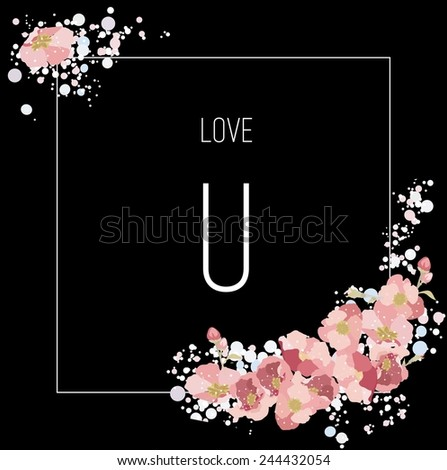 Vector unusual minimalistic romantic valentine card with text and pink flowers on black square. Love U - stock vector