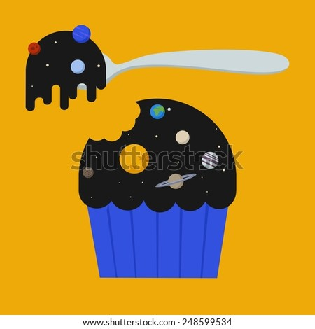 Vector unusual space color illustration with muffin with topping of solar system's planet and star and spoon. Yummy cosmic food. - stock vector