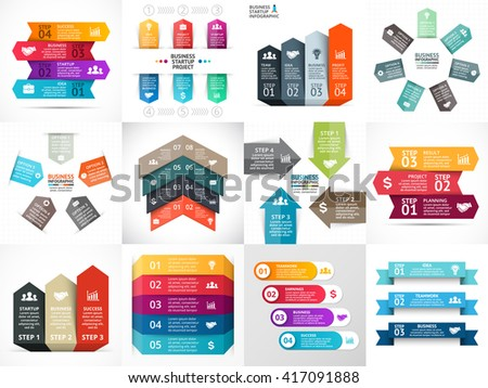 Vector up arrows infographic, timeline diagram, stairs graph, presentation, chart. Business startup concept with 3, 4, 5, 6, 7 options, parts, steps, processes. Infographics growth template. - stock vector