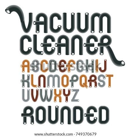 Vector Upper Case Modern Alphabet Letters Abc Set Funky Rounded Font Typescript For