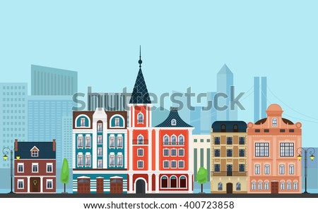 Vector Urban landscape illustration. Old buildings with modern  skyscrapers in the background. Cityscape illustration, Cityscape image, Cityscape town, Cityscape skyscrapers, Cityscape buildings. - stock vector