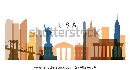 vector USA and landmark architecture vector set - stock vector