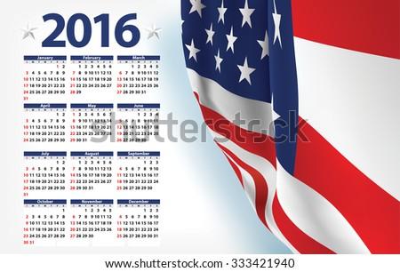 Vector USA calendar year 2016 - stock vector