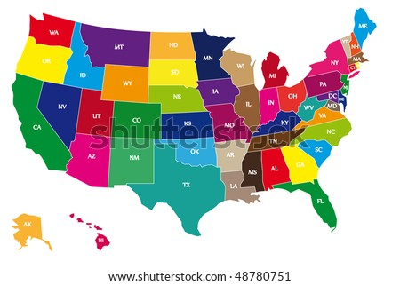 Usa Map States Stock Images RoyaltyFree Images Vectors - Usa map with name of states