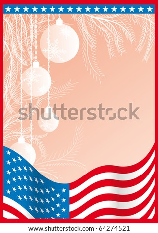 Vector usa document with pink christmas background - stock vector