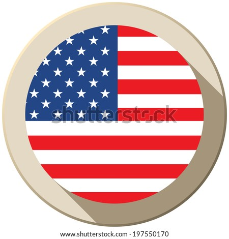 Vector - USA Flag Button Icon Modern - stock vector