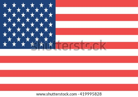 Vector USA flag. Flat style state national flag of united states of america. Official design of US flag. Symbol with three vertical stripes. Independence day, holiday. Add any text