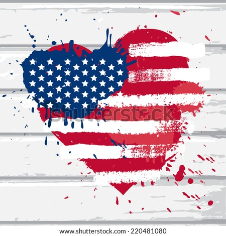 Vector USA flag in heart shape on white wood wall, illustration in grunge style - stock vector