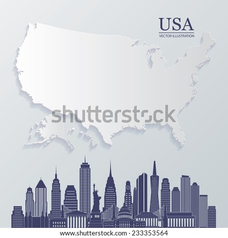Vector USA map. Vector USA skyline. Vector illustration - stock vector