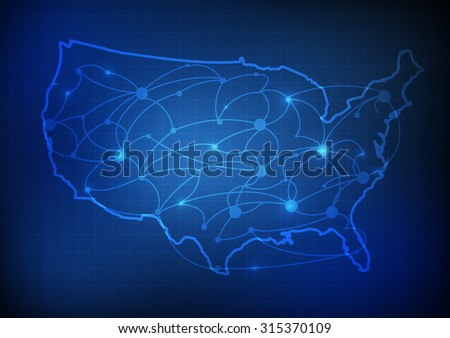 Line Art Usa Map : Vector usa map network line grid stock photo