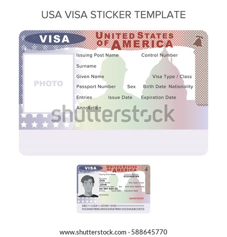 Vector usa passport visa sticker template stock vector hd royalty vector usa passport visa sticker template in flat style thecheapjerseys Image collections