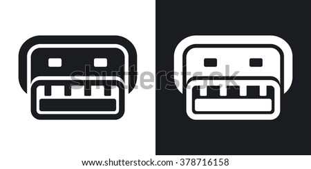 Vector usb connector icon. Two-tone version on black and white background - stock vector