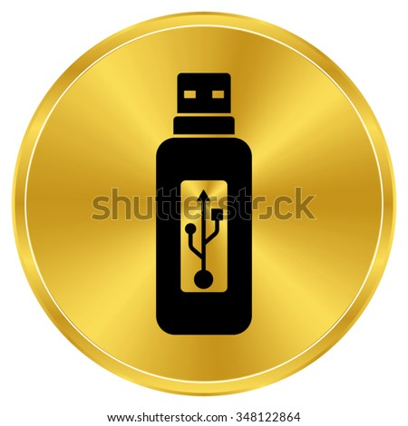 Vector usb flash drive - gold vector icon - stock vector