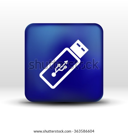 Vector usb flash drive icon on a grey flat button.
