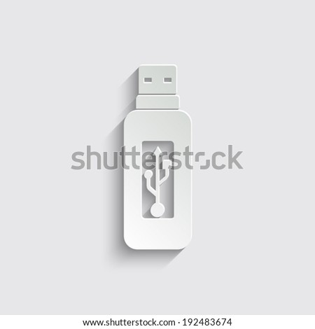 Vector usb flash drive icon with shadow on a grey background - stock vector
