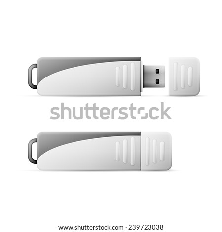 Vector USB Flash Drive isolated on white background - stock vector
