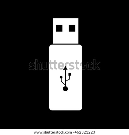 Vector USB Flash Drive white on black background.