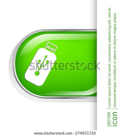 Vector USB flash icon disk. - stock vector