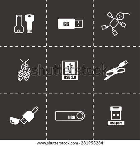 Vector USB icon set on black background - stock vector