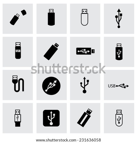 Vector usb icon set on grey background