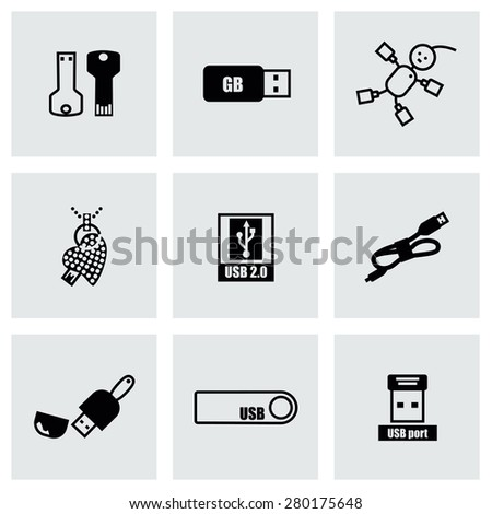 Vector USB icon set on grey background - stock vector