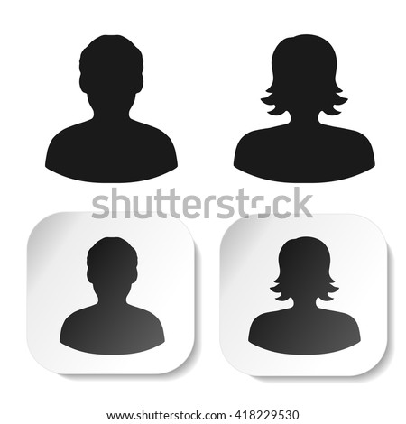 Vector user black symbols. Simple man and woman silhouette. Profile labels on white square sticker. Sign of member or person on social network. Male and female icon.