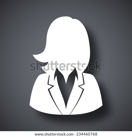 Vector user icon of woman in business suit - stock vector