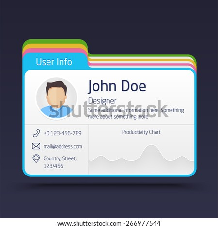 Vector User Info Card. User interface elements with chart - stock vector