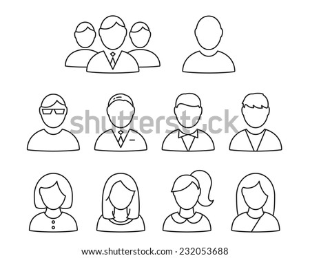 Vector User Profile icon set - stock vector