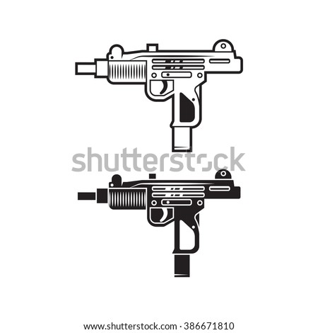Vector UZI weapon for cover, poster, logo, print, label, sticker, banner, game. Line style. Set of two. - stock vector