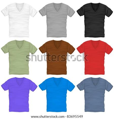 vector v-neck t-shirt design template - stock vector