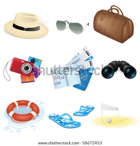 Vector vacation and travel icons - stock vector