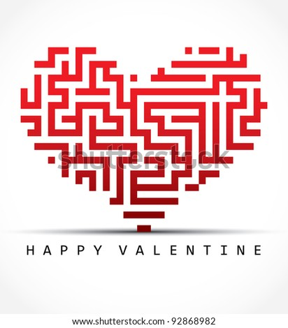 Vector valentine card- maze heart - stock vector