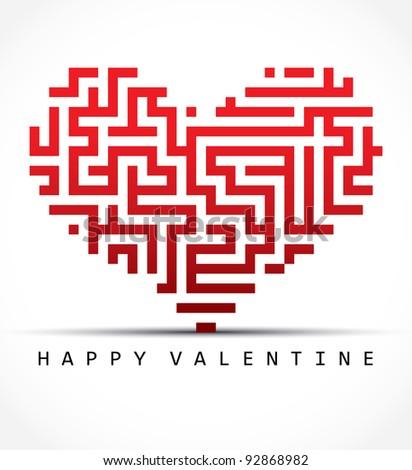 Vector valentine card- maze heart - stock vector