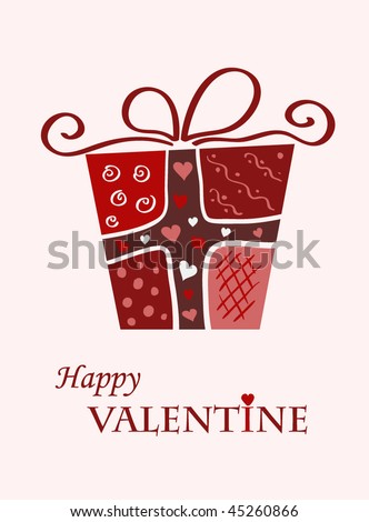 Vector valentine card with gift