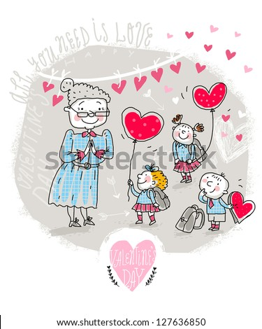 Vector Valentine Card with Teacher and kids - stock vector