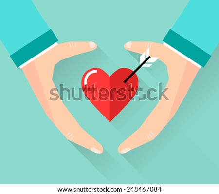Vector valentine day greeting card in flat style - male hands holding heart in flat style - stock vector