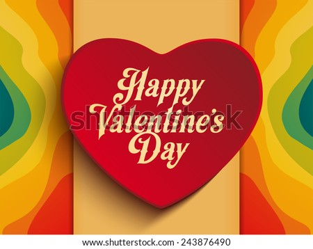 Vector - Valentine Day Heart on Rainbow Background - stock vector