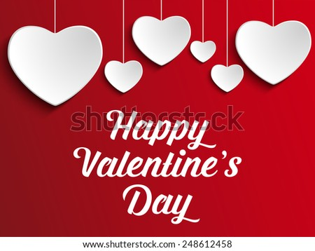 Vector - Valentine Day Heart on Red  Background - stock vector