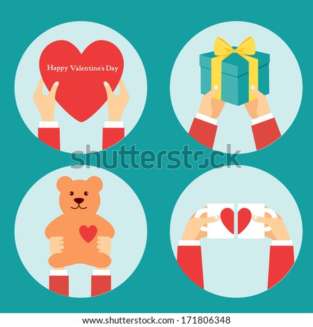 Vector valentine day illustrations in flat style - hands and signs of love - stock vector