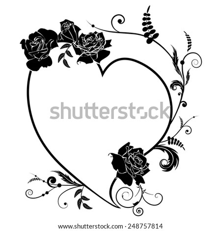Vector valentine frame with  heart and roses in black and white colors - stock vector