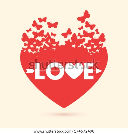 Vector valentine heart with butterflies background illustration - stock vector