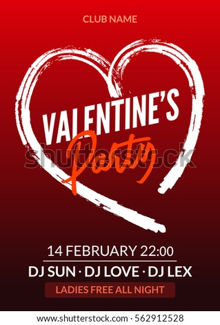 Vector Valentine Party Poster Or Flyer Design Template. Valentine Party  Greeting Illustration Night. Disco