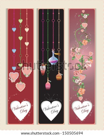 Vector Valentine's Day Banners with hearts and flowers