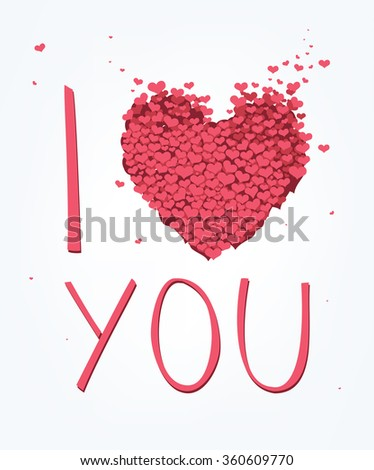 vector Valentine's Day card with i love you phase - stock vector