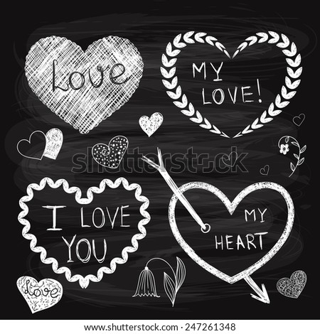 Vector Valentine's Day Design Elements fully editable eps 10 file, standard AI fonts, chalk background with transparency effects - stock vector