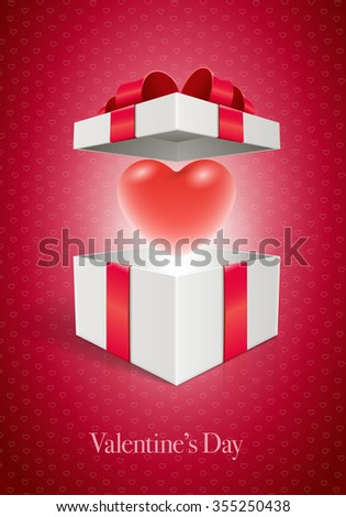 Vector Valentine's Day design template. Heart in open gift box. Elements are layered separately in vector file. - stock vector
