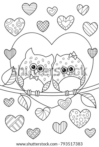 Vector Valentines Day Doodle Coloring Book Stock Vector 793517383 ...